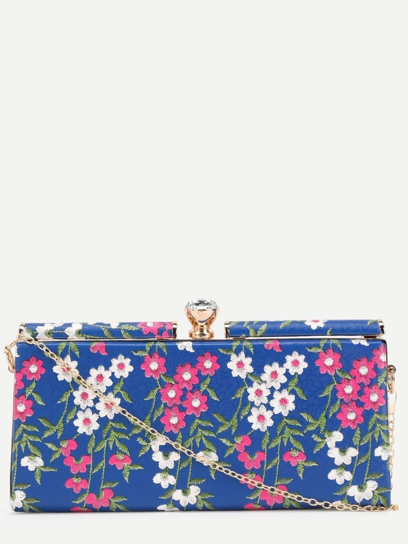 Blue PU Floral Print Jewelled Evening Bag EmmaCloth-Women Fast Fashion Online