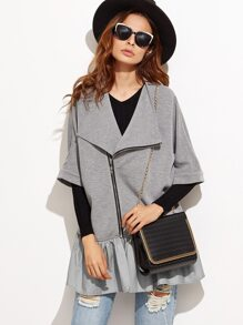 Heather Grey Ruffle Trim Asymmetric Zip Jacket