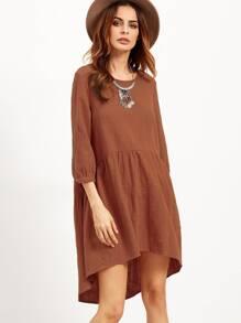 Khaki High Low Tent Dress