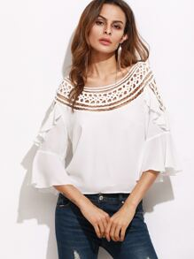 White Hollow Out Neckline Ruffle Top