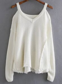 White Cold Shoulder Asymmetrical Hem Sweater