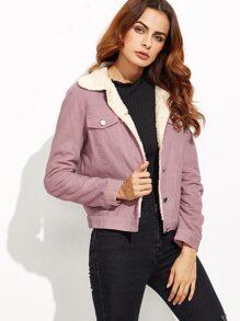 Purple Contrast Faux Shearling Lining Jacket