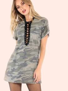 Strappy Camo T-Shirt Dress CAMOUFLAGE