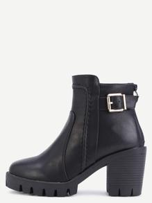 Black Distressed PU Buckle Strap Zipper Chunky Boots