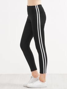 Black Contrast Striped Side Leggings