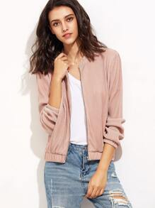 Pink Zip Up Ribbed Bomber Jacket