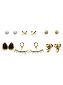 Gold Multi Shape Stud Earrings Set