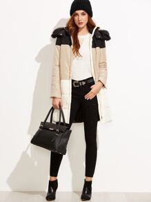 Color Block Hooded Padded Coat With Zipper