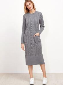 Grey Cable Knit Dual Pocket Front Slit Back Sweater Dress