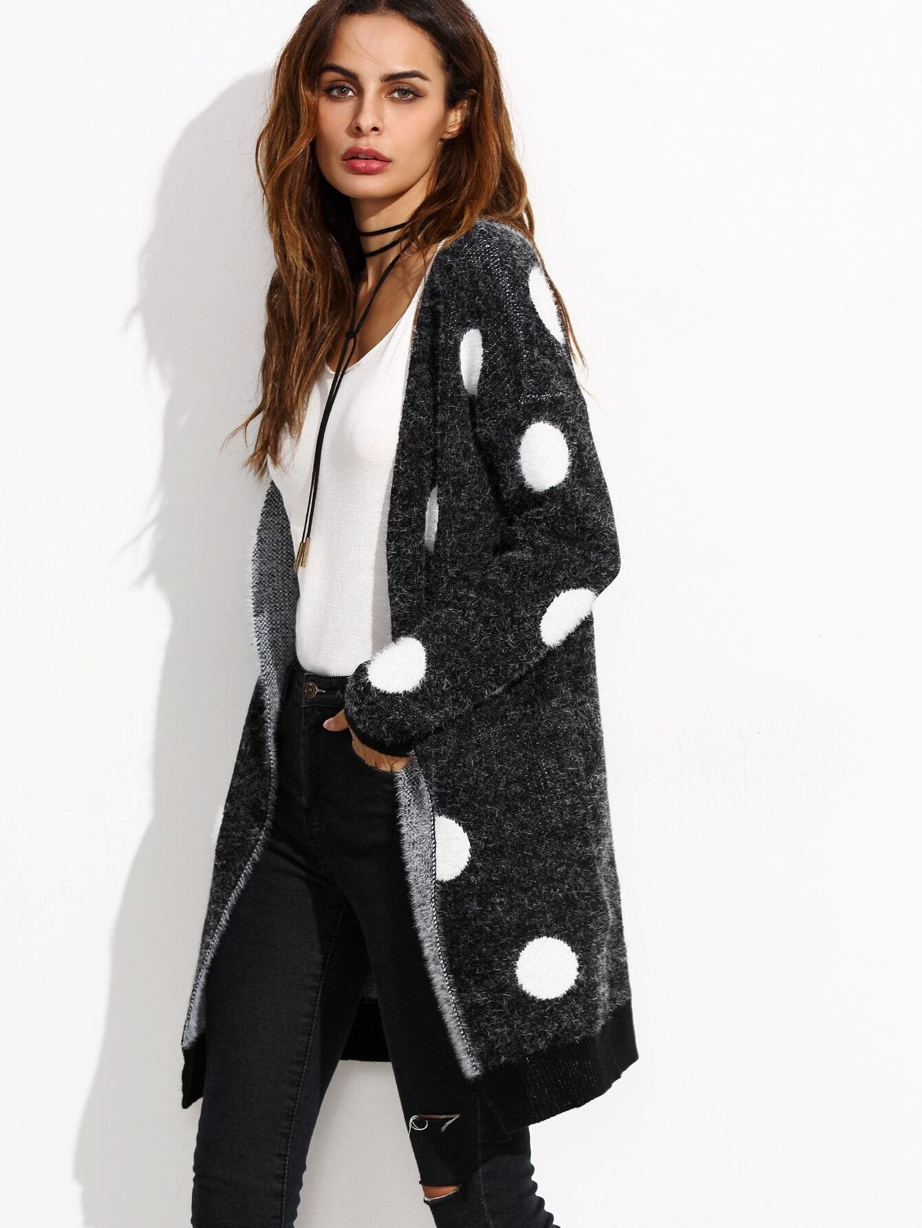 Black Polka Dot Open Front Long Sweater Coat EmmaCloth-Women Fast ...