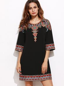 Black 3/4 Sleeve Embroidered Tunic Dress