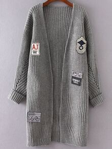 Grey Patch Detail Collarless Rolled Cuff Cardigan