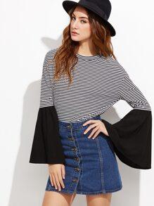 Contrast Striped Drop Shoulder Bell Sleeve T-shirt