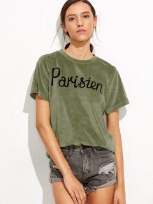 Green Velvet Letter Print T-shirt