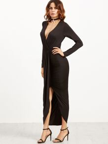 Black Draped Surplice Wrap Dress
