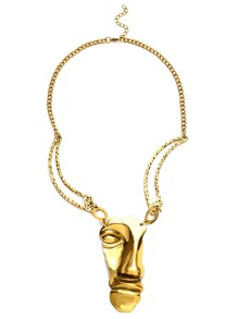 Antique Gold Half A Face Pendant Necklace