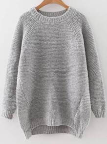 Grey Raglan Sleeve Dip Hem Sweater