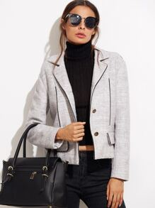 Heather Grey Contrast Piping Blazer