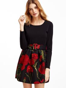 Black Floral Print Pleated Combo Dress With Belt