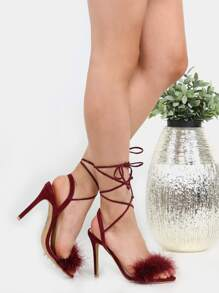 Tie Up Stiletto Feather Heels BURGUNDY