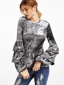 Silver Tiered Bell Sleeve Open Back Velvet Bodysuit