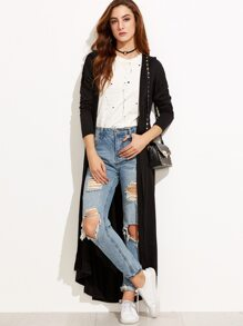 Black Drop Shoulder Maxi Hooded Coat