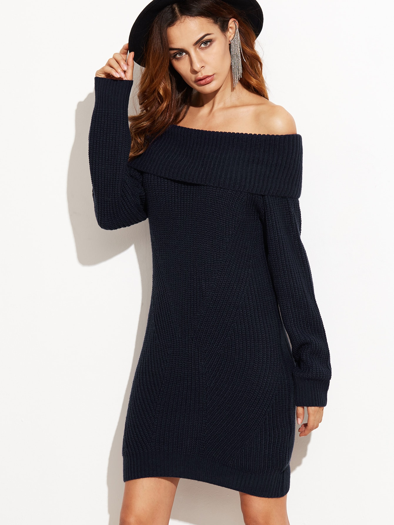 Navy Fold Over Off The Shoulder Sweater Dress EmmaCloth-Women Fast ...
