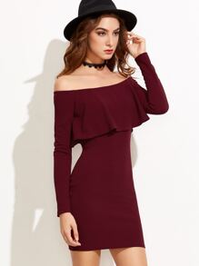 Burgundy Off The Shoulder Ruffle Bodycon Dress