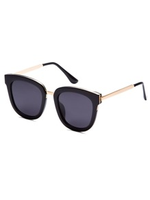 Black Bold Frame Metal Arm Sunglasses