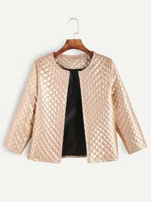 Rose Gold Grid Grain Faux Leather Coat