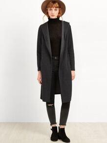 Dark Grey Long Hooded Coat