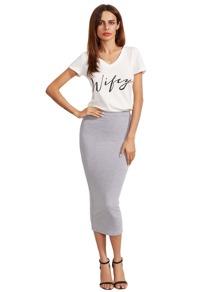Grey High Waist Sheath Skirt