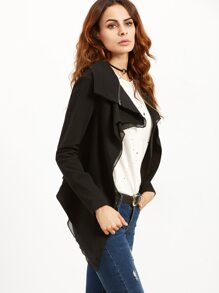 Black Drape Collar Asymmetric Jacket With Zip Detail