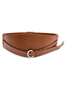 Brown Faux Leather Buckle Wide Belt