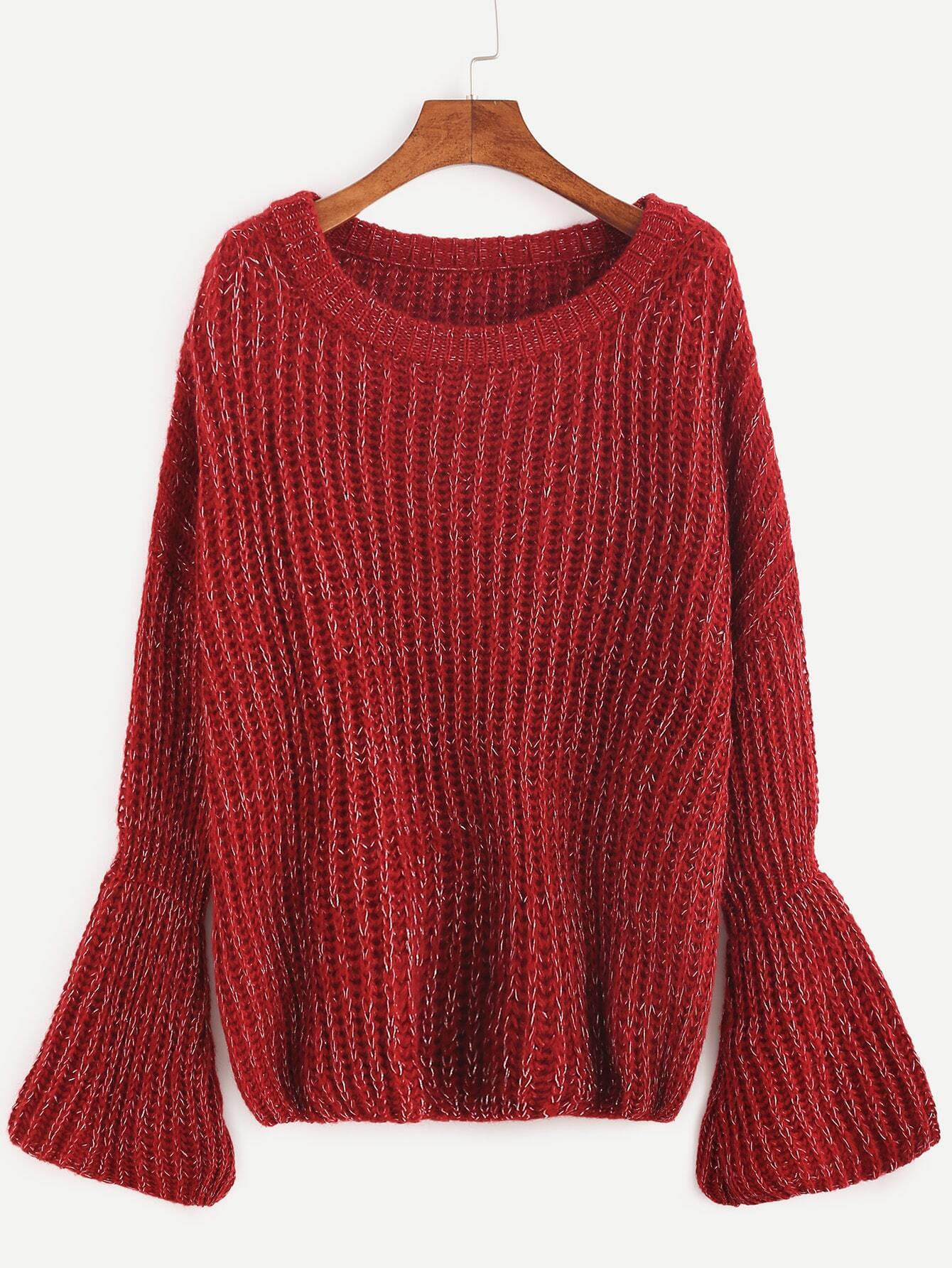 Red Marled Knit Bell Cuff Sweater EmmaCloth-Women Fast Fashion Online