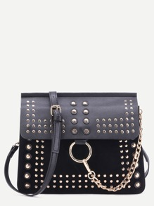 Black Studded Flap Crossbody Bag