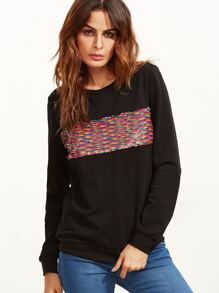 Black Embroidered Sequin Embellished Sweatshirt