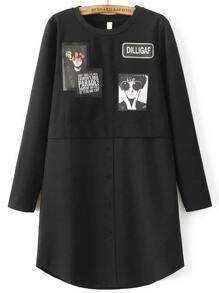 Black Single Breasted Curved Hem Shirt Dress