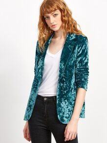 Blue One Button Crushed Velvet Blazer