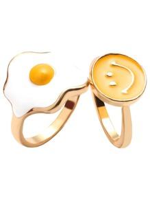 2PCS Gold Fried Egg Smiley Face Ring Set
