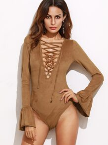 Camel Faux Suede Lace Up Plunge Neck Bell Cuff Bodysuit
