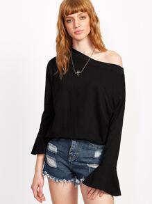 Black Oblique Shoulder Ruffle T-shirt