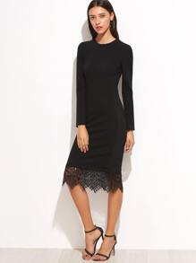 Black Lace Trim Long Sleeve Pencil Dress
