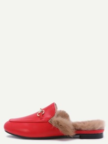 Red Faux Leather Fur Lined Slippers