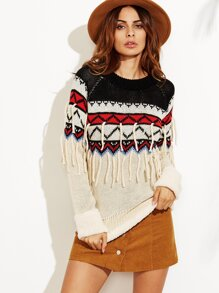 Color Block Geo Pattern Fringe Sweater