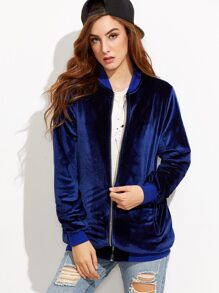 Royal Blue Zip Up Oversized Velvet Bomber Jacket