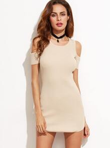 Apricot Cold Shoulder Knitted Bodycon Dress