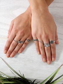 Textured Metallic Ring Set SILVER