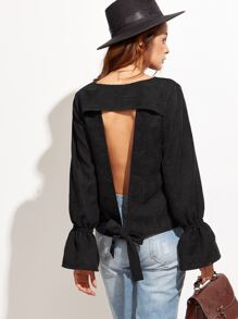 Black Bell Sleeve Open Back Corduroy Blouse
