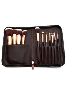 Black Professional Makeup Brush Set With Zipper Bag